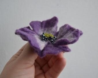 Violet Wool Felt Flower Poppy Brooch Pin,Felted Wool Flowers, Purple Poppy Jewelry, Handmade Poppy Jewelry,Corsage Brooch, Wet Felt Pin