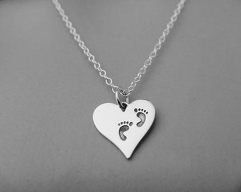 Sterling Silver Heart with Footprints Necklace - Heart Necklace - Baby Footprints Necklace - Valentines Day Gift - Mom Necklace