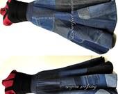 Carefree Blues - Long Reclaimed Denim Bohemian Skirt,  OOAK Jeans skirt, Recycled Eco Chic, Barefoot Modiste Handmade, Suited for - Medium