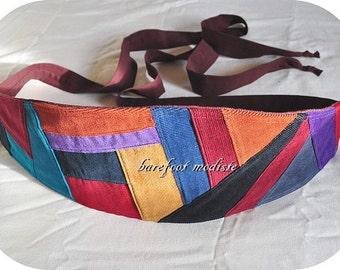 Patchwork Corduroy Obi Belt, Unique Cord Patch Belt, One of a Kind Waist Cincher, OOAK Bohemian Style, Unique Barefoot Modiste Handmade