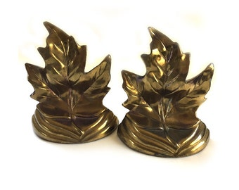 Vintage Pair Brass Lacquered Maple Leaf Bookends