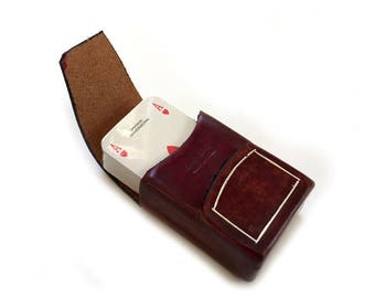 Vintage NOS Masenghini Bergamo Miniature Playing Cards and  Leather Case Italy