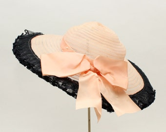 vintage 1940s PINK hat • wide brim picture hat with netting ruffle