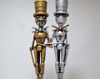 Gay Wedding Topper Same Sex Wedding Cake Topper Silver and Gold Wood Civil Union Keepsake Grooms in Tuxedo Tails and Top Hats Robot Gift