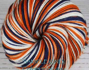 "Dyed to Order: Self-striping Hand-dyed Sock Yarn - ""BLUE - ORANGE - WHITE"" - Football yarn - Baseball - School colors yarn - Denver Detroit"