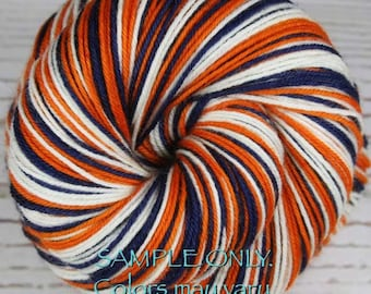 "Dyed to Order: Self-striping Hand-dyed Sock Yarn - ""BLUE - ORANGE - WHITE"" - Football yarn - Baseball yarn- School colors yarn - db"