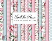Digital flower paper - Floral paper - Rose patterned paper - Digital download - Floral digital paper - Commercial use Digital Paper - TNCo