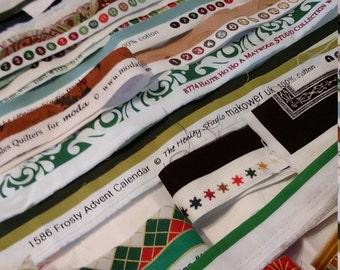 Fabric Selvedges,  quilting cotton selvege, supplies, holiday selvedges, Christmas fabric selvedges, Quiltsy Destash Party,