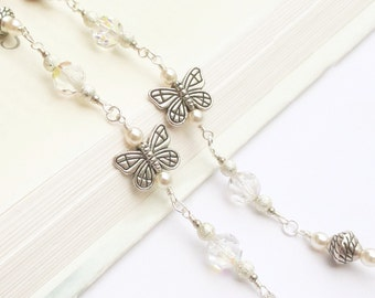 Glasses Chain Silver Butterfly, Silver Lanyard, Butterfly Charm Eyeglass Necklace Holder, White Pearl Glasses Chain, Beaded Pearl Lanyard