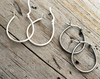 Sterling Silver Oval Hoop Earring Finding Jewelry Supplies Sterling Silver Hoop Earring Finding