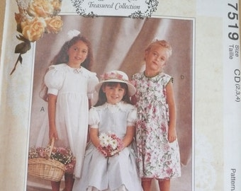 McCall's Pattern 7519, Toddler Girls Old Fashioned Dress and Pinafore, Size 2,3 & 4, Uncut and Factory Folded