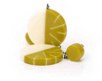 Geometric Drop Earrings in Ivory white and Lime Green