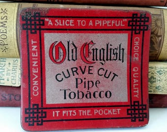 Tin Old English Curve Cut Pipe Tobacco Antique