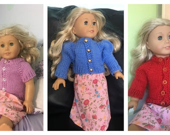 """Doll Sweater Knitting Pattern for 18"""" Dolls"""