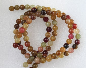 Full Strand Beautiful Tricolor Jade Smooth Round Beads 8mm