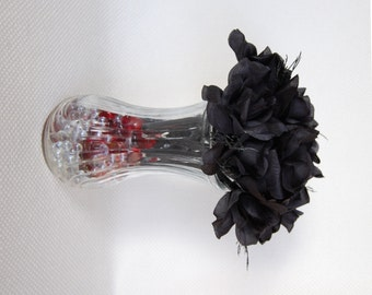 Set of 12 Black Rose Flower Pens with Black or Polka Dot Stems Limited Edition Halloween Goth Pens BIC Black Ink Office Floral Anti-Theft