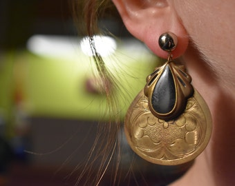 Vintage Brass Stamped Earrings