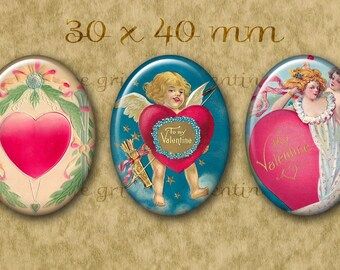 30x40 mm Digital Printable Ovals BE MY VALENTINE collage sheet for Pendants Cameos Magnets Bezel Cabs...Cupids Hearts Whimsy