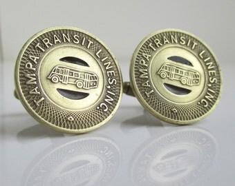 TAMPA Transit Token Cuff Links - Vintage, Repurposed Brass Coins