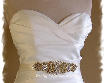 Gold Wedding Belt, Gold Bridal Sash,  Pearl Gold Wedding Sash, Rhinestone Crystal Gold Bridal Belt, Jeweled Crystal Gold Belt, No. 4060SG