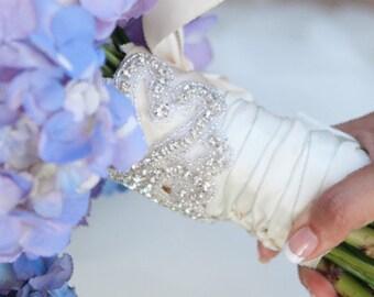 Wedding Bouquet Wrap, Rhinestone Crystal Bridal Bouquet Wrap, Jeweled Bouquet Cuff, Bridal Cuff Bracelet, Wedding Decoration, No. 2011BW