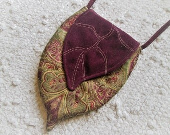 Elven Inspired Brocade Cross Body Bag with Leaf Flap