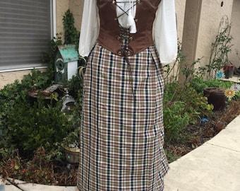 Renaissance Dress (Skirt, Blouse, Corset, Apron), size Large