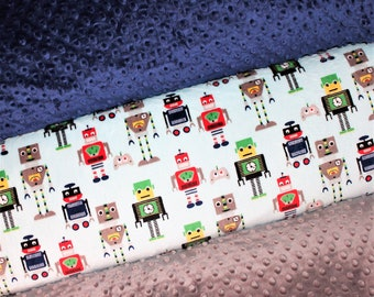 ROBOTS Baby Boy Blanket, PERSONALIZED Baby Blanket,Navy, Gray, Yellow, Red, Green, Double Minky, Custom Blanket, Choose Your Colors