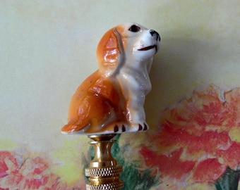 Porcelain White  Cream Dog Lamp Finial