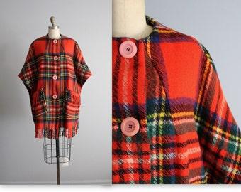 60's Plaid Cape // Vintage 1960's Irish Wool Tartan Plaid Cape Poncho XS S M L