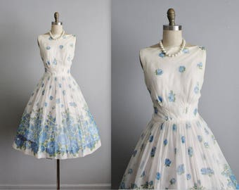 50's Chiffon Dress // Vintage 1950's Blue Floral Chiffon Garden Party Prom Wedding Dress S