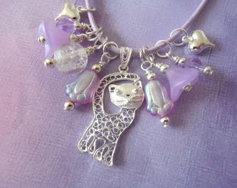 Cat Necklace, Glow in the Dark, Sterling Cat, Charm Necklace