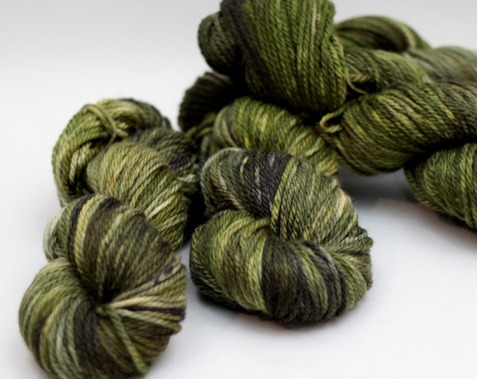 "Hand dyed Yarn MCN Clovis Aran weight ""Green Space"" Swoon Fibers"