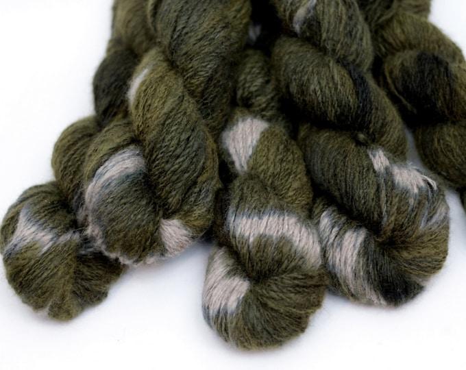 Hand dyed Yarn handspun Mink, olive shibori,worsted