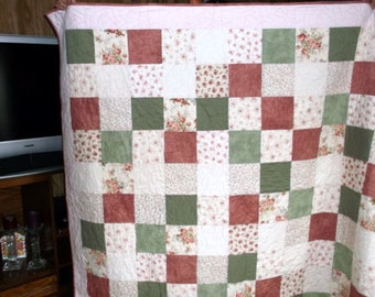 """TWIN LAP QUILT Sale Priced Shabby Chic Quilt appx 64""""X 86"""" in white/off-white/green/pink and dusty rose"""
