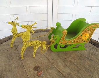 Vintage. Sleigh. Deer. Wooden Sleigh. Woven Deer. Christmas Sleigh. Reindeer / Sleigh. 1960s. Sleigh / Reindeer. Christmas Decoration.