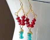 MARCH MADNESS SALE Red Glass and Blue Jade Earrings, Turquoise Colored Beads, Southwestern Style, Etsy, Etsy Jewelry, Beaded Earrings