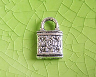 10 silver lock charms pendants tiny skeleton keys locked fancy victorian padlock 13mm x 8mm - C0681-10