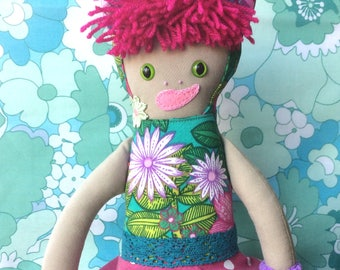 Krisha KittyKat Asian / Afro Cat Rag Doll in  bold Pink , Lime and Teal Green Vintage Fabrics a Forest Friend by Witty Dawn