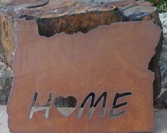 Custom State HOME Sign Oregon recycled steel rustic large wall hanging YOUR state sign ANY state 24 in
