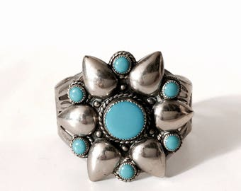 Native American turquoise silver cuff bracelet