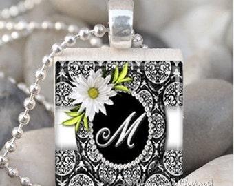 Daisy Damask Black and White Monogram Initial Scrabble Tile Pendant Charm S30
