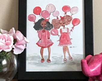 Pink Balloons- Childrens Art, Black Girl Magic Art, afro art prints, kids art, girly illustrations by LeMahogany Art