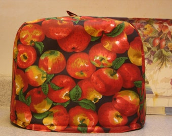 ARTI Toaster COVER Red APPLES on black  for 2 slice Toastmaster with bagel setting