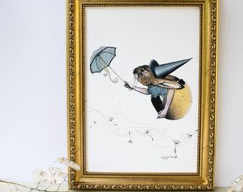 Rabbit hare in an eggshell flying with dandelion fluff and blue umbrella folklore mythology illustration artwork A4 print