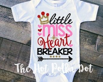 "Infant Baby Girl ""Little Miss Heart Breaker"" Red, Pink, Black Glitter on White Bodysuit - Valentin'es Day Baby Onesie - Cupid Cutie"
