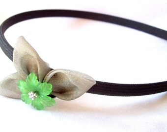 Unique Folded Fabric Headband with Green and Silver Flower Wearable Fiber Art