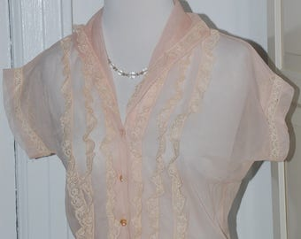"50s Frothy Pink Sheer Blouse, Lace, Ruffles, Plastic Buttons with Pearl Centers, Cap Sleeves, Size M, 38"" bust"