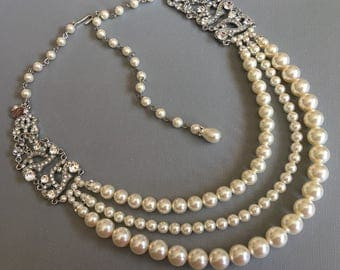 Pearl Backdrop Necklace in a Great Gatsby style with rhinestone in silver and ivory Swarovski pearls or your choice of color wedding bridal