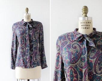 Secretary Blouse S/M • Paisley Bow Top • 80s Blouse • Tie Blouse • Pussybow Blouse • Vintage Button Up • Vintage Blouse  | T692